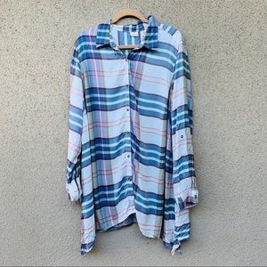 Westbound plaid button down shirt size 2X blue